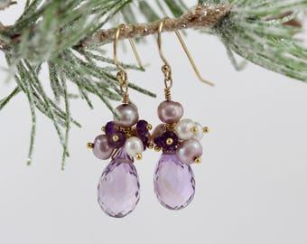 Pearl Amethyst Drop Earring, Purple, Amethyst Drop Earring, Sterling Silver, Winter Gem Collection, Anastasia, Purple Frost