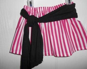 Girls Pirate skirt with sash red white stripe, blue white stripe or hot pink white stripe  0-3 months to 12 years