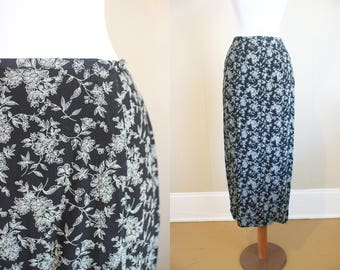 Festival Floral Maxi Skirt Vintage Grunge Wrap Front Black and White Midi 90s Small