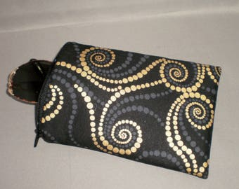 Eyeglass or Sunglasses Case - Padded Zippered Pouch - Black and Bronze Swirling Dots