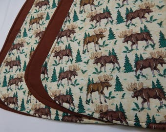 Moose Placemats, Wedge Placemats, Small Table Mats, Wildlife Decor