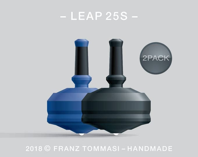 LEAP 25S 2PACK Blue-Black – Value-priced set of precision handmade spin tops with ceramic tip and integrated rubber grip