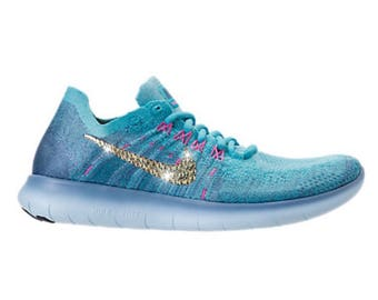 Bling Nike Free RN Flyknit 2017 Shoes with Swarovski a Crystal Bedazzled Swooshes Turquoise Blue & Pink