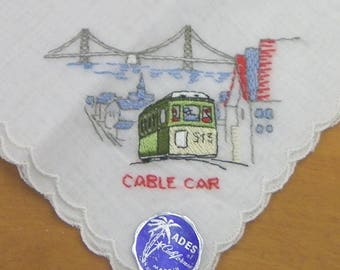 CABLE CAR HANKIE, Lovely Embroidered Linen with Scalloped Edges, Vintage California, San Francisco Souvenir, Keepsake