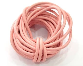 Leather Pink Cord 1mt-3.3 ft (4mm) Round Leather Lacing G7924