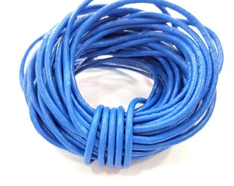 Leather Blue Cord 1mt-3.3 ft (3mm) Round Leather Lacing G7940