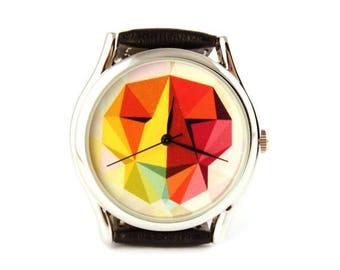 ON SALE 25% OFF Watch Lion, women watch, men watch, boyfriend watch, leather watch