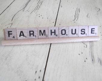Farmhouse Sign Vintage Scrabble Sign Farmhouse Chic Decor