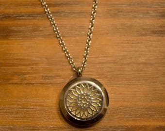 ON SALE TODAY Essential Oil Diffuser Necklace with Sunflower Filigree Locket with a full set of felt pads