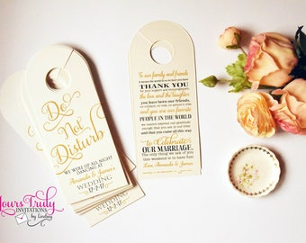 Do not disturb door hanger for a wedding or hotel guest gift bag shown in gold or your colors custom