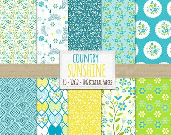 Blue and Yellow Digital Paper, French Floral Pattern Background Paper, JPG Digital Download, Chic Country Sunshine, Summer Scrapbooking