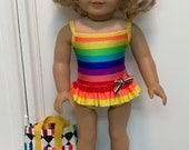 American made One-piece skirt ruffle Swimsuit/ bag and sandals made to fit 18 inch dolls such as American Girl