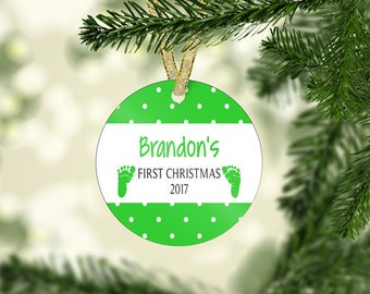 Personalized Plastic, Porcelain, or Glass Baby's 1st First Boy or Girl Christmas Ornament! 3 -Styles