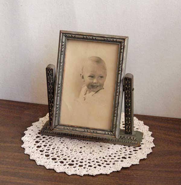 Vintage Art Deco Swing Frame Wood Glass 1940s Antique Tilt