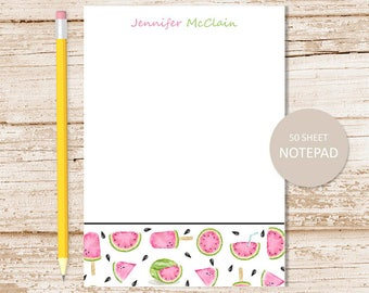 personalized watermelon notepad . note pad . watermelon border . watercolor personalized stationery . summer fruit stationary