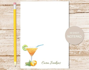 personalized notepad . margarita notepad . mixed drink note pad . stationery . personalized stationary . summer beach tropical
