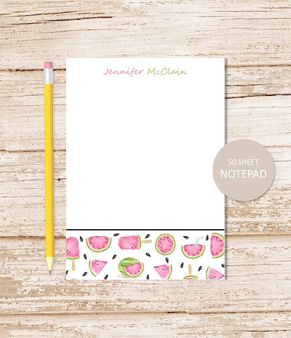 personalized watermelon notepad note pad watermelon border