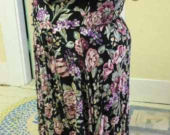 Dress, Plus Size, Black Flower Print Challis