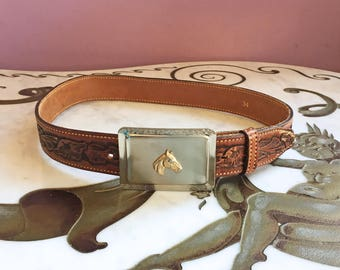 Vintage 70s LEATHER BELT / 1970s Tooled Belt with Horse Buckle, s m