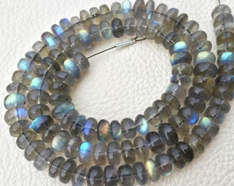 Brand New, AAA Quality Blue Flashy Labradorite Smooth Rondelles, Full 8 inch Strand, 8-7mm, Superb Quality. at Low Price