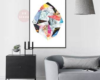 Abstract diamond art painting print gemstone large Printable Diamond poster painting Large abstract digital download wall art decor