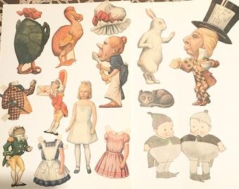 Alice in wonderland handcut vintage paper dolls collage journal images crafts art