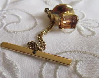 Vintage Gold Tone Pale Gold Rhinestone Tie Tack
