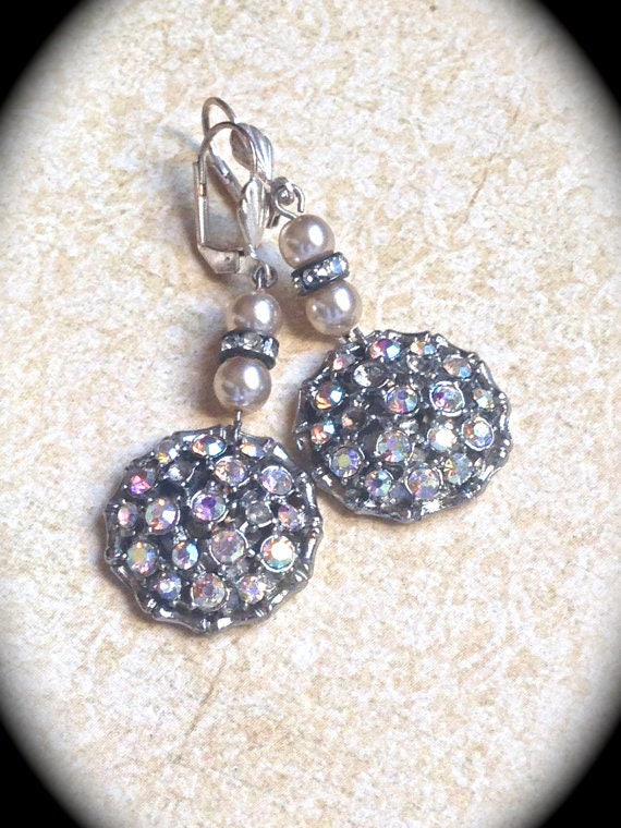 Vintage AB Rhinestone Button Earrings- Dangle Earring