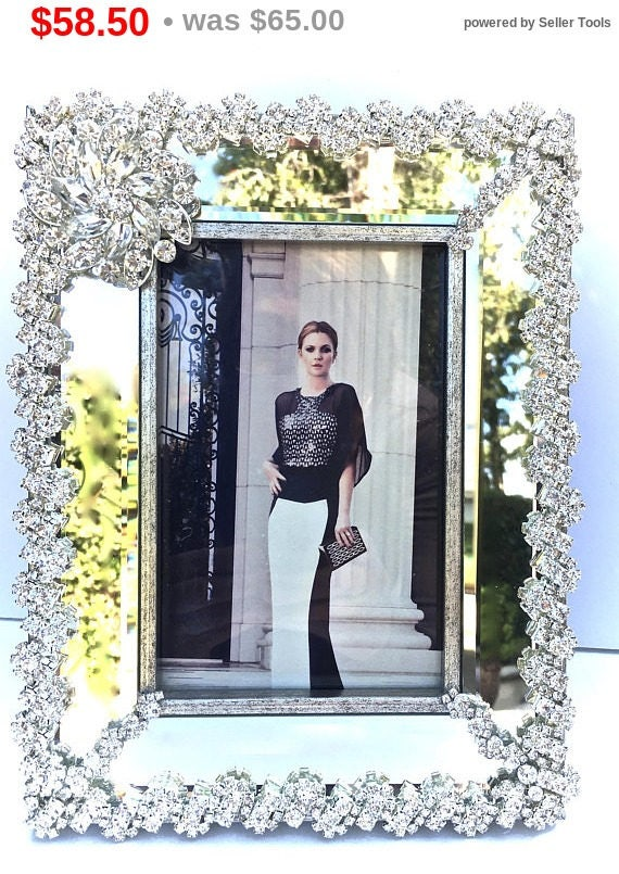 Summer Sale Rhinestone Photo Frame- Art Deco Frame- Unique Gifts- Wedding Gifts- Bridal Gifts -Picture Frame- Home Decor
