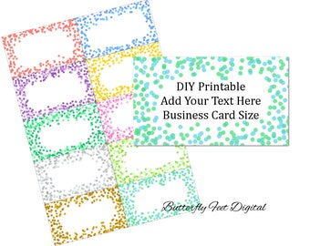 Confetti Business Card Design, Blank Template, Add Your Own Text, Confetti Sprinkles Clipart, Instant Download
