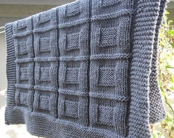 Christmas in July Knit baby blanket, throw, lap blanket (Grey color)