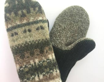 Men's Sweater Mittens made from recycled sweaters - Felted Mittens - Wool Mittens - Stocking Stuffer - Green - Beige, repurposed sweater