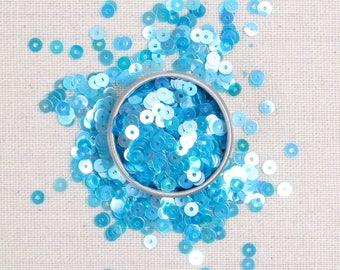 Sequins & Beads // Aquamarine Iridescent Sequins, Blue Glass Seed Beads, 4mm Flat Sequins, Sequin Appliqué, Size 11 Glass Beads, Felt Shop