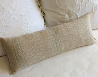Spa treen/blue faded Stripes French country lumbar bolster pillow 9x25