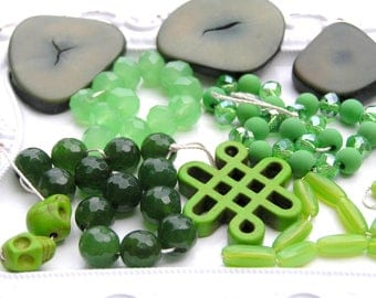Green Destash Bead Lot, Green Tagua Nut Beads, Green Agate Beads, Sale Beads