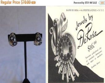BI-ANNUAL SALE Meet You at The Brown Derby - Vintage 1940s R. DeRosa Blue Rhinestone Gold Tone Clip On Earrings
