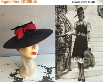 BI-ANNUAL SALE A Walk to Palais de Chaillot - Vintage 1930s 1940s Wwii Black Wide Brim Straw Hat w/Red Black Ribbons