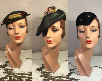Three Gals Hat Lot#6 - Vintage 1930s Lot of 3 Hats Black Straw Boater Black Straw Floral Slouch Black Gold Skull Cap