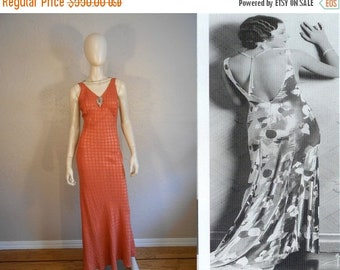 Anniversary Sale 35% Off Thirteen Women  - Vintage 1930s Pumpkin & Silver Metallic Rayon Dress w/Plunge Back Button Detail - 4/6