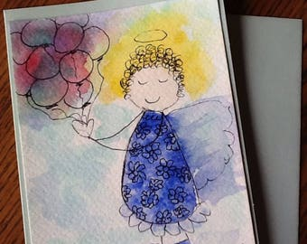 Kathy Balloon  Angel Watercolor Gift or Note Card