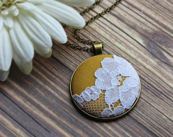 Boho Jewelry, Large Yellow Pendant Necklace With Lace, Mustard Bridesmaid Gift, Colorful Fall Wedding