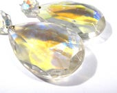 """Chandelier Crystals Teardrop VINTAGE AB Beveled Faceted Glass 3 1/4"""" Two (2) Lead Crystal Prism Pendant Ornament Jewelry Supplies (M248)"""