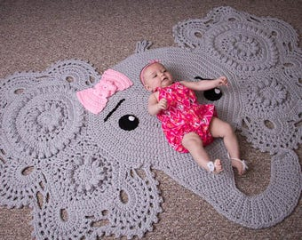 Elephant Rug, Crochet Elephant Rug, Nursery Decor, Josefina and Jeffrey the Elephant Rug