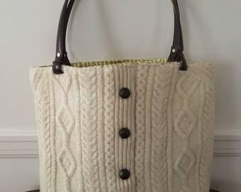 Irish Aran Knit Felted Wool Tote Bag