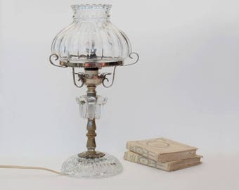 Glass table lamp vintage, Bedside lamp, Housewarming gift, Murano style, Mid century.