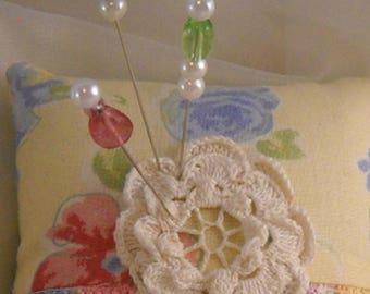 Pincushion Country Cutie Vintage Trim Hat Pins