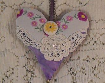 Purple Valentine's Heart Lavender Sachet Vintage Linens