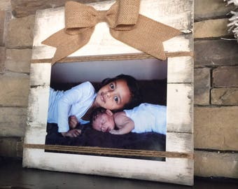 Picture frame, rustic picture frame, picture holder, burlap bow frame, rustic home, decor, pallet frame, wood frame, farmhouse decor,