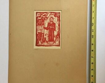 VTG Winnipeg Canada Early Art Wood Print NIKOLA BJELAJAC Artist Priest Crosses