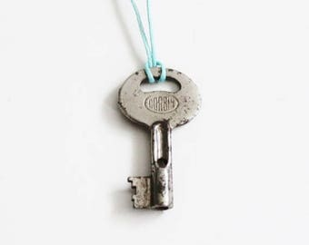 50% half off sale // Vintage CORBIN GJ1 Mini Skeleton Key Upcycled Necklace on Waxed Aqua Blue Cord